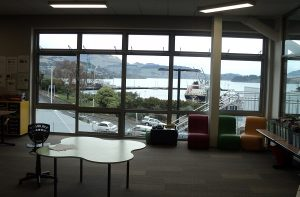 Teaching areas are open and spacious, with views across Lyttelton Harbour