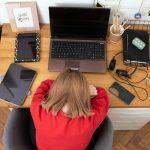 Coronavirus. Quarantine. Online training education . Computer, laptop and girl studying remotely. Coronavirus pandemic in the world. Closing schools